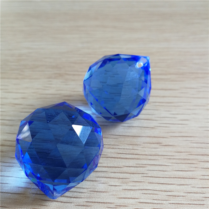 Sapphire/blue 100units 30mm Glass Faceted Ball Hanging Pedants For Chandeliers Crystal Drop Prisms Wedding/Home Lighting Decor