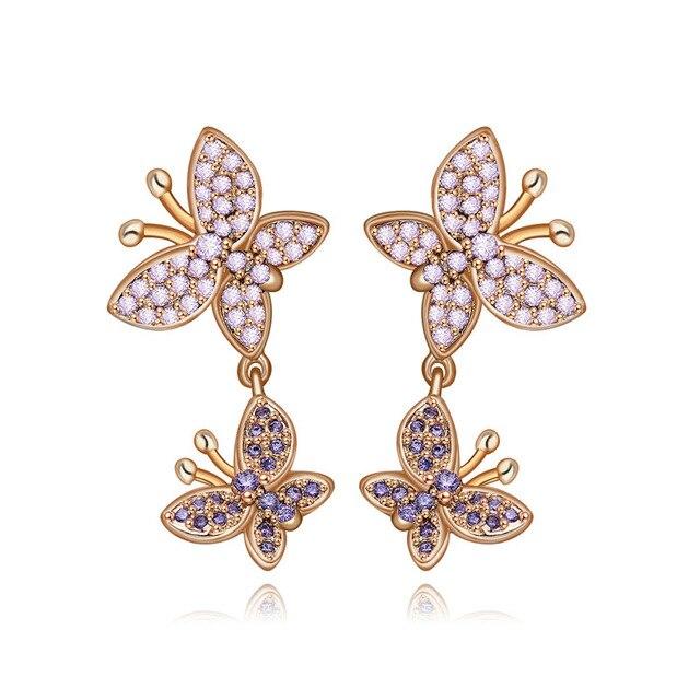 Rose Gold Jewelry Romantic Earrings Female Accessory Solid 925 Sterling Silver Stud Earrings Lovely Butterfly Design Earrings