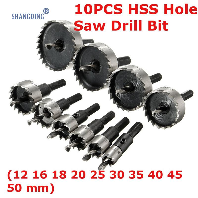 10pcs/set HSS High Speed Steel Hole Saw Tooth Drill Bit Set Metal Wood Alloy Cutter Tool For Thick Steel Plates Cast Iron Wood ayhf 60mm hole saw cast iron cutting hss twist drill bit