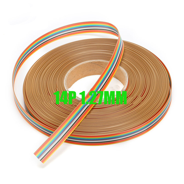 Free shipping 10M 14 Way ribbon cable color 14P flat wire cable For ...
