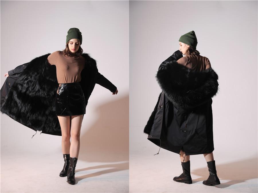 2019 Real Fur Coat Winter Jacket Women Long Parka Waterproof Big Natural Raccoon Fur Collar Hood Thick Warm Real Fox Fur Liner 85