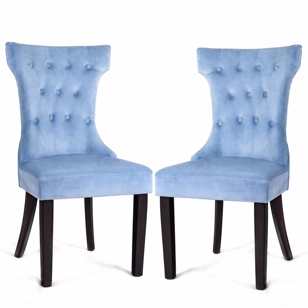Giantex Set of 2 Dining Side Chair Button Tufted Upholstered Velvet Armless Chair Blue Home Furniture HW58153BL все цены