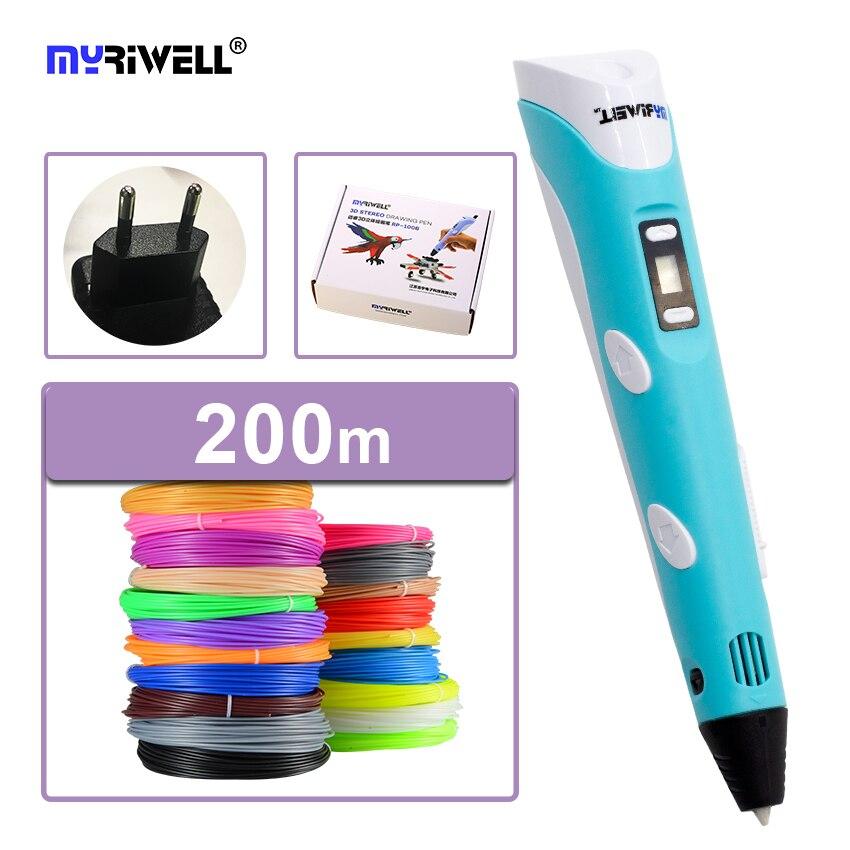D'origine myriwell 3D stylo 2ème génération RP-100B avec ABS/PLA filament LCD affichage écran enfant bricolage impression stylo de noël cadeau