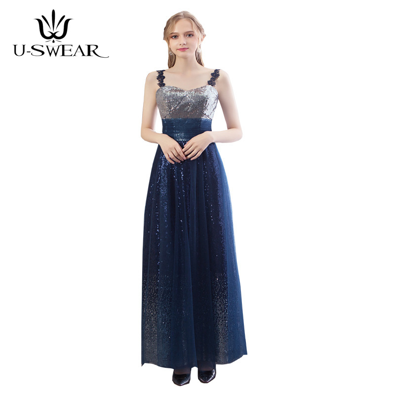 U-SWEAR 2019 New Sexy Blue   Bridesmaid     Dresses   V-Neck Sleeveless Long Sequin Chiffon Wedding Party Formal Gowns Vestidos De Festa