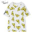 2017 marca de moda dulce de plátano imprimir larga floja mujeres de la camiseta ocasional del verano blusa tumblr parejas tees camisetas mujer ts-024
