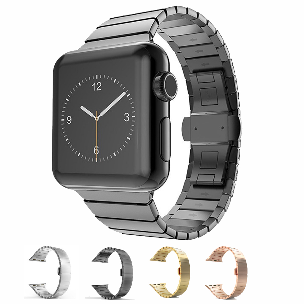 Luxury Stainless Steel Watch Band for Apple Watch 4 3 2 1 38mm 42mm Link Bracelet Strap For iwatch  40mm 44mm Butterfly ClaspLuxury Stainless Steel Watch Band for Apple Watch 4 3 2 1 38mm 42mm Link Bracelet Strap For iwatch  40mm 44mm Butterfly Clasp