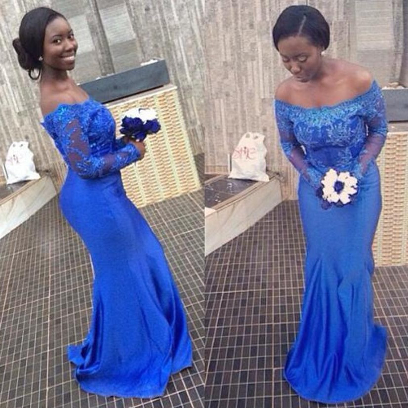 Mermaid African   Bridesmaid     Dresses   Off the Shoulder Long Sleeves Lace Long Black Girl Formal Wedding Party Gowns Royal Blue 2017