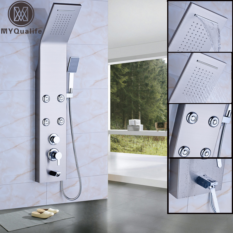 Shower Faucets Stainless Steel Waterfall Rainfall Shower Panel Wall Mounted Bathroom Shower Faucet Shower Panel Column Towel Shower Tub Tap