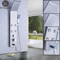 Luxury Bath Shower Panel In Wall Single Handle 4pc Body Massage Jets Shower Column Waterfall Rain Shower Head Brass Tub Spout