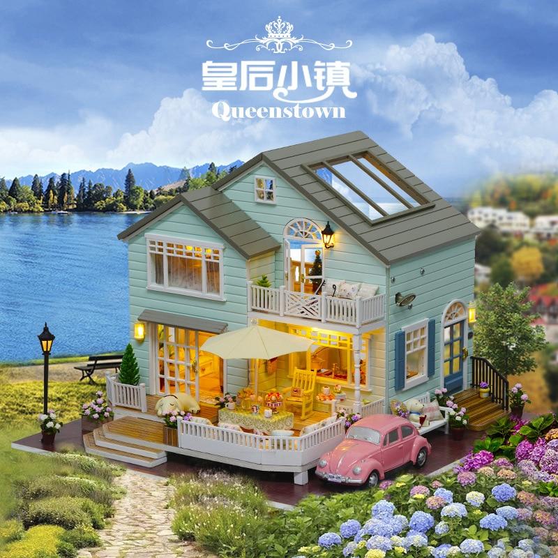 купить Miniature DIY Doll House Wodden Miniatura Dust cover DollHouses Furniture Kit Handmade Toys For Children girl Gift Queens Town недорого