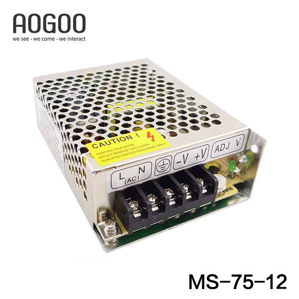 Mini-size 75W 12V  6.3A Switch Mode LED Light Devices Switching Power Supply AC-DC PSU 100/110/220/230V MS-75-12 mini size 50w 36v 1 4a switch mode led light devices switching power supply ac dc psu 100 110 220 230v ms 50 36