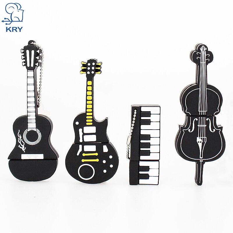 KRY Pendrive Cartoon Violin Piano Guitar Flash Drive 2.0 4GB 8GB 16GB 32GB 64GB Creative Instrument Model Flash Drive usb Driver