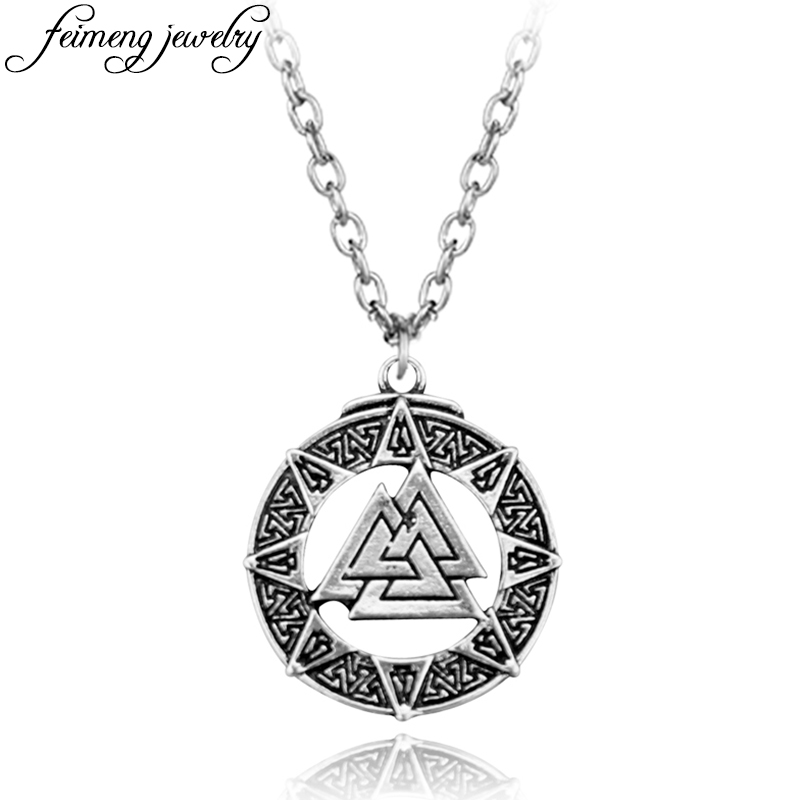 Slavic Norway Valknut Pagan Amulet Pendant Scandinavian Viking Necklace Odin s Symbol of Norse Warrior Jewelry For Men