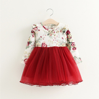 Children Dress Autumn Baby Girls Floral Printed Princess Dresses Vestidos Toddler Girls Clothing Kids Girls Red