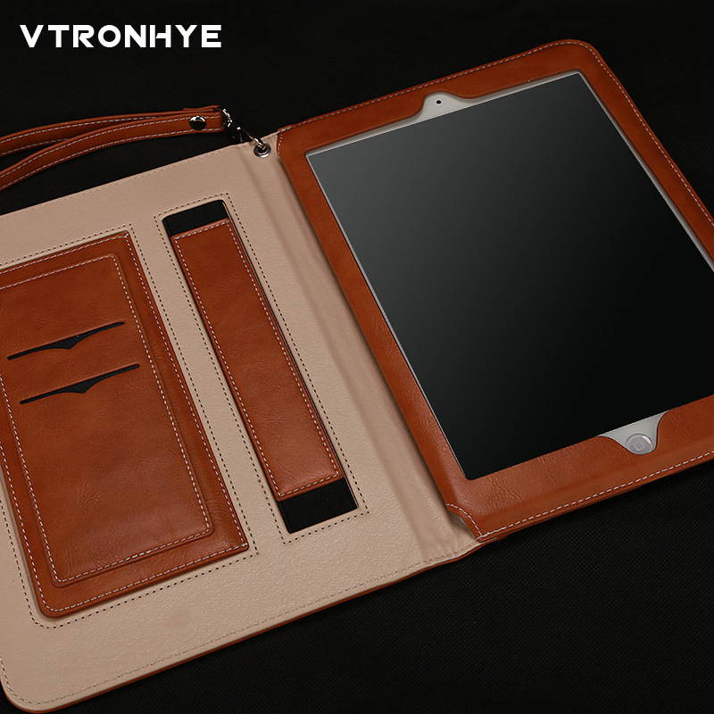 For iPad Air 2 Retro Briefcase Hand Belt Holder PU Leather Case For Apple iPad 6 Air 2 Smart Stand Flip Bags Cover+Screen Film