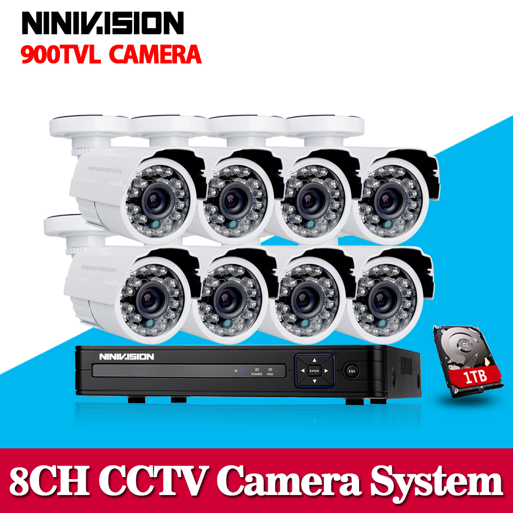 White Bullet HD Camera 8pcs 900tvl security outdoor waterproof camera 8ch AHD 1080P 960h CCTV System 3g wifi dvr kit hdmi 1080p bullet camera tube camera headset holder with varied size in diameter