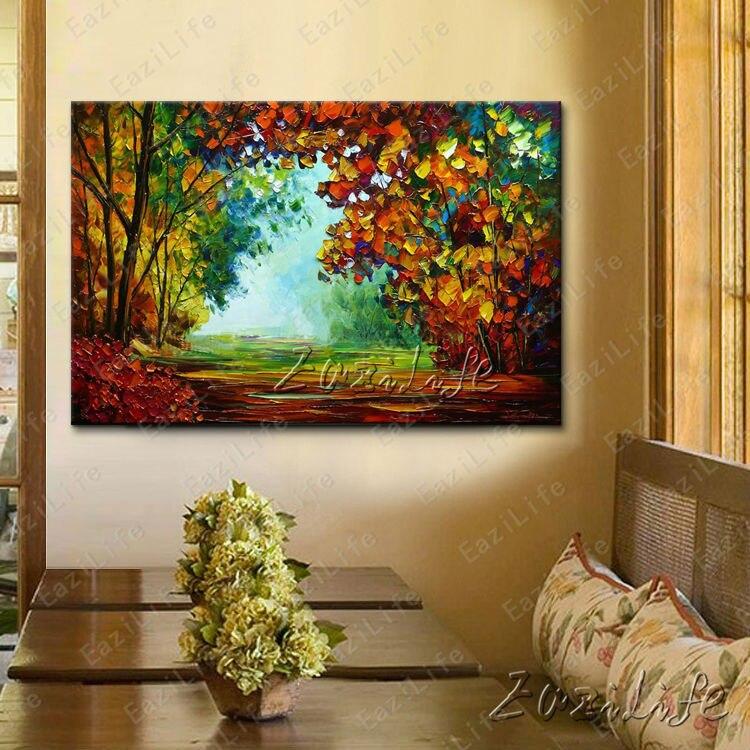 ᐂPintado a mano lienzo pinturas al óleo cuadros de pared para sala ...