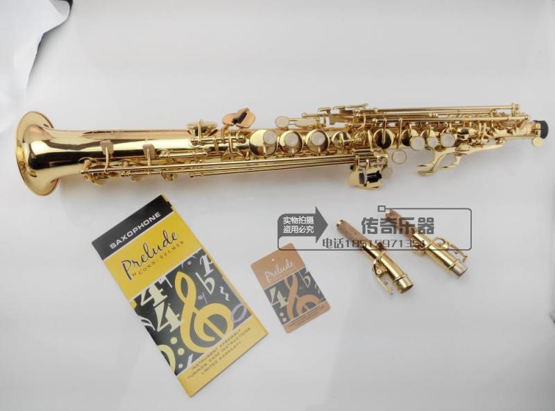 Qualité supérieure saxophone soprano France 802 modèle de baisse Bb Musique électrophorèse or saxophone soprano avec double col