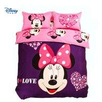 Disney сладкий Минни Маус одеяла постельные принадлежности king size 5 шт. шлифования хлопок принцесса девушки пододеяльник 3d плоским простыни