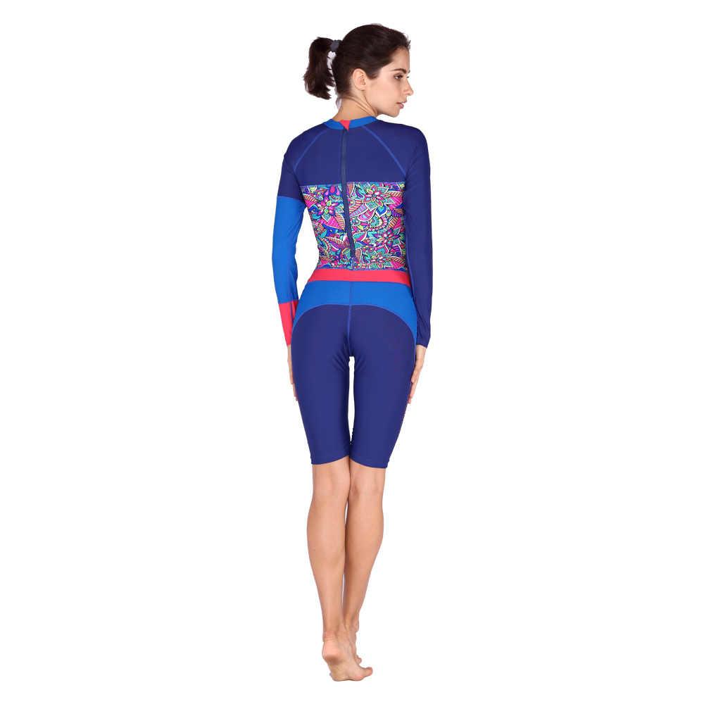 Анти-УФ с длинным рукавом гидрокостюмы для плавания Женский гидрокостюм для серфинга для плавания подводное плавание слитный купальник трико для серфинга