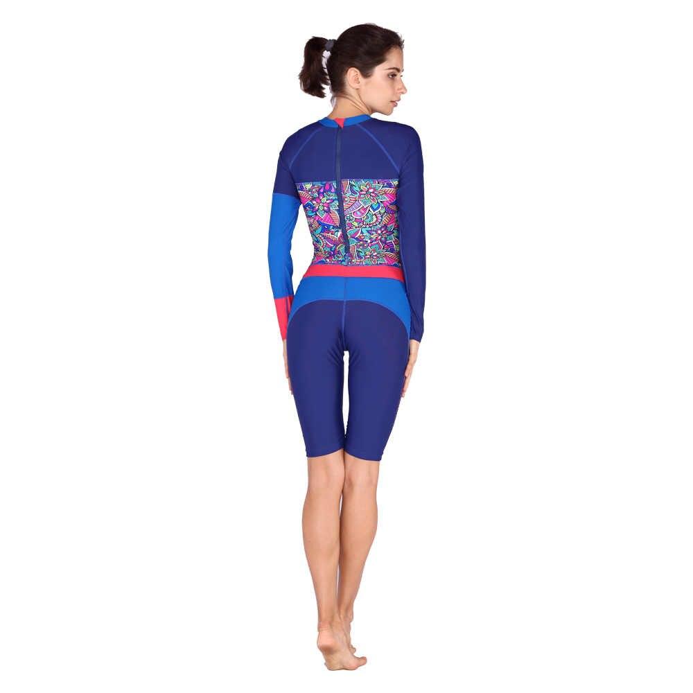 Anti Sinar UV Lengan Panjang Baju Renang Pakaian Selam Wanita Surfing Basah Cocok untuk Berenang Scuba Diving Under One Piece Swimsuit Surf K Berlaku