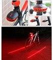Intermitente Para Bicicleta 5LED 2 Laser Ciclismo Para Bicicleta luz 7 Modo de Flash Advertencia de Seguridad de La Lámpara Posterior impermeable de la Cola del Laser lámpara