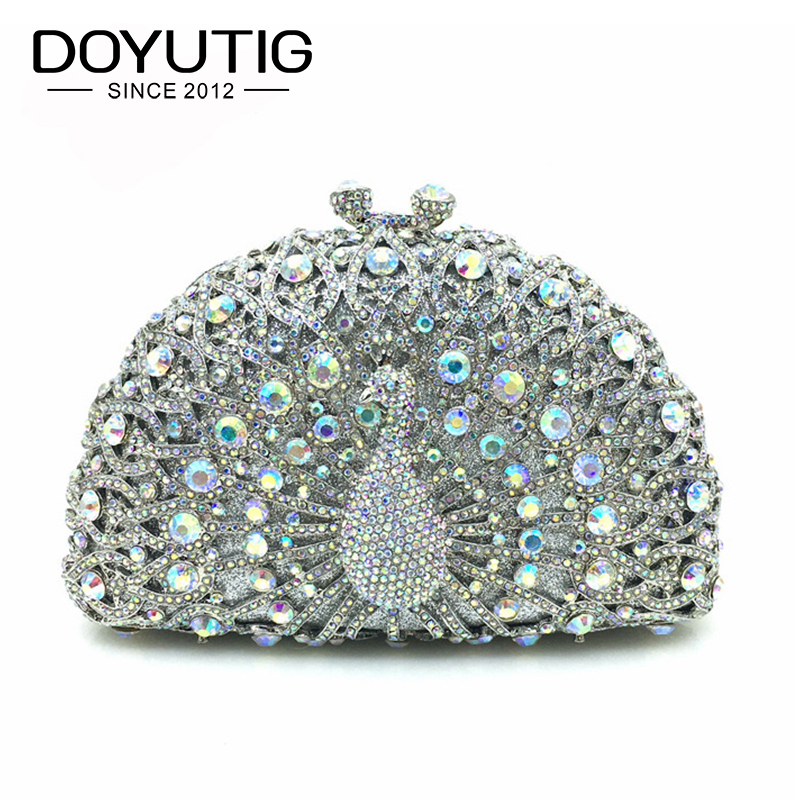 Luxury Crystal Evening Bag Peacock Clutch Diamond Party Purse Pochette Soiree Women Evening Shoulder Bag Wedding Clutch Bag A140 women custom name crystal big diamond clutch women evening clutch bag 1020bg