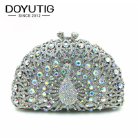 Luxury Crystal Evening Bag Peacock Clutch Diamond Party Purse Pochette Soiree Women Evening Shoulder Bag Wedding Clutch Bag A140