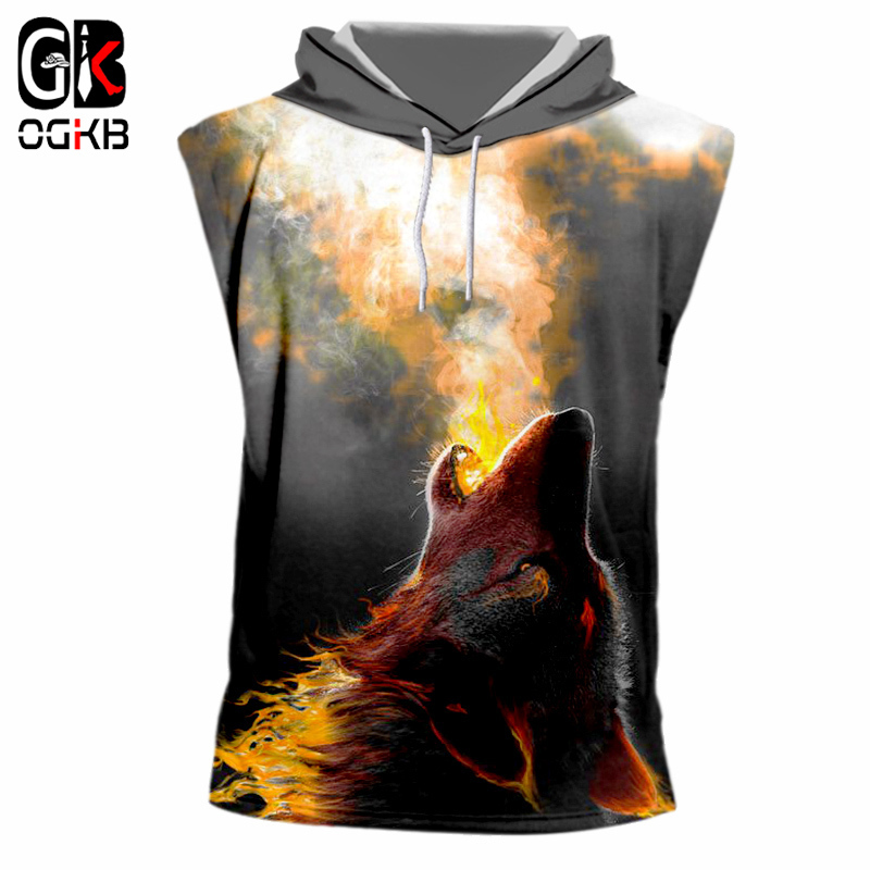 OGKB 2018 Summer Tops Women/men Print Fire Wolf <font><b>3d</b></font> Tank Top With Hood <font><b>Animal</b></font> Cap Vest <font><b>Unisex</b></font> Hiphop Sleeveless <font><b>Hoody</b></font> Trackusits image