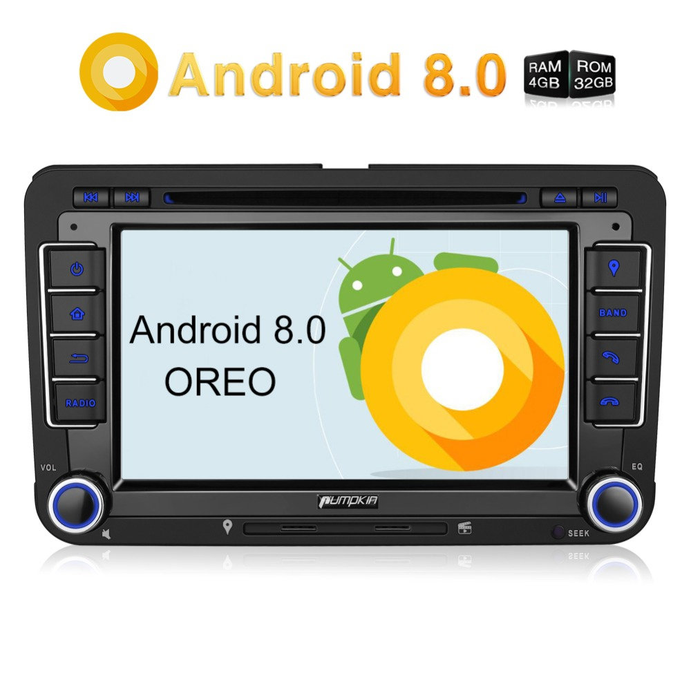 Pumpkin 7''2 Din Android 8.0 Car DVD Player GPS Car Stereo For VW/Skoda/Passat FM Rds Radio Fast Boot Wifi 4G DAB+ USB Headunit