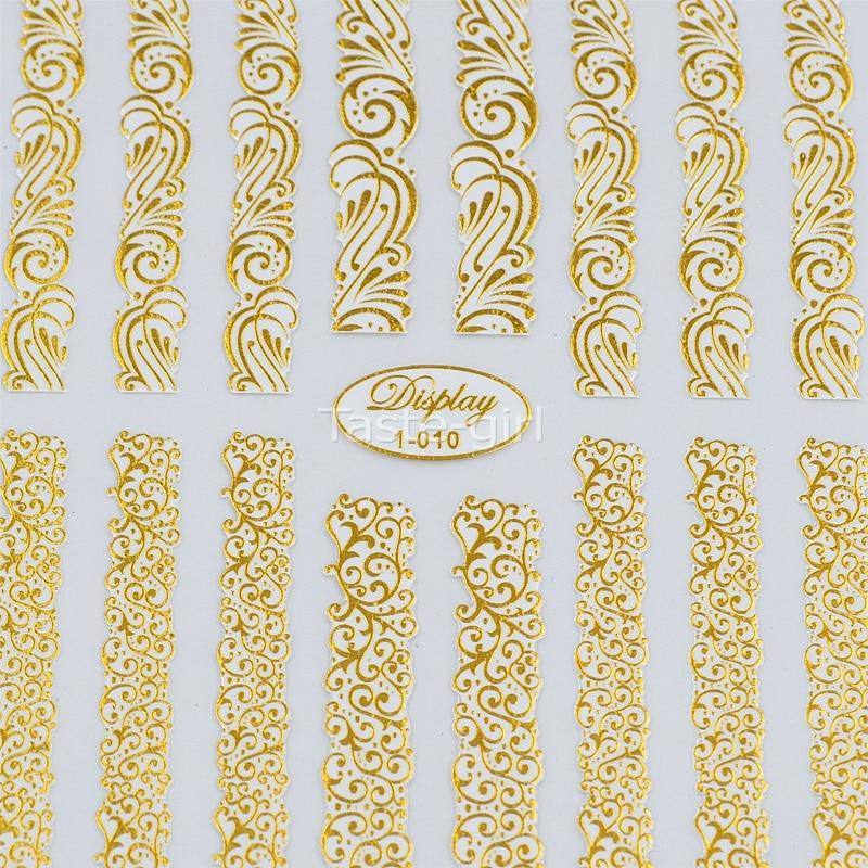 Vysoce kvalitní 3d zlato (bílá) Nail Art Samolepky Nálepky Hot - Manikúra