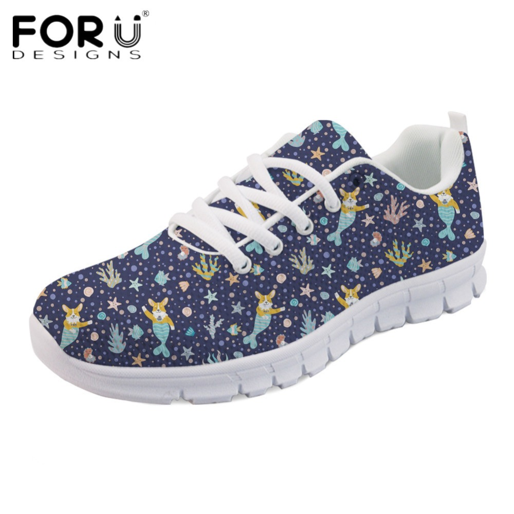 FORUDESIGNS Funny Corgi Mermaid Printed Girls Casual Flats Women Breathable Light Lace Up Sneakers Comfortable Spring Mesh Shoes instantarts women flats emoji face smile pattern summer air mesh beach flat shoes for youth girls mujer casual light sneakers