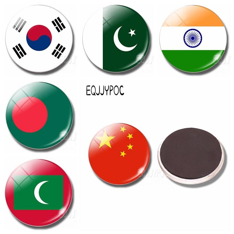 Asia Flag Fridge Magnet China Thailand Singapore India Maldives Glass Dome  Magnetic Refrigerator
