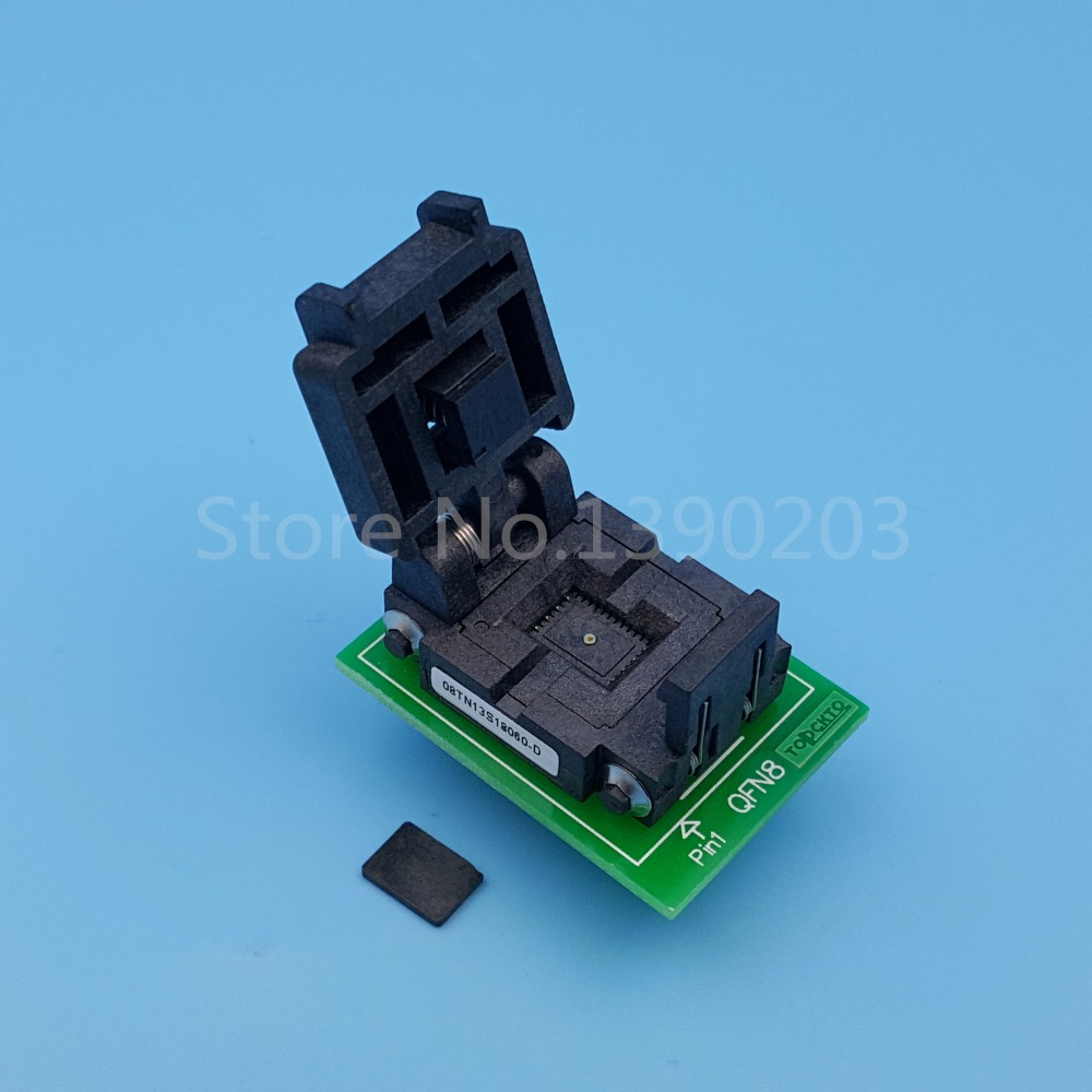QFN8 MLF8 MLP8 To DIP8 (B) Pitch 1.3mm 8x6mm IC Programmer Adapter Test Socket 60pcs lot 8 pin dip square hole ic sockets adapter 8pin pitch 2 54mm connector