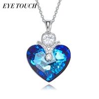 EYE TOUCH Fashion Jewelry Crystals From Swarovski Australian Rhinestone Blue Color Heart Shaped Love Valentine S