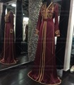 Burgundy Satin Moroccan Kaftan With Embroidery and Beading Arabic Style Long Sleeves Muslim Evening Dresses  Long Formal Gown