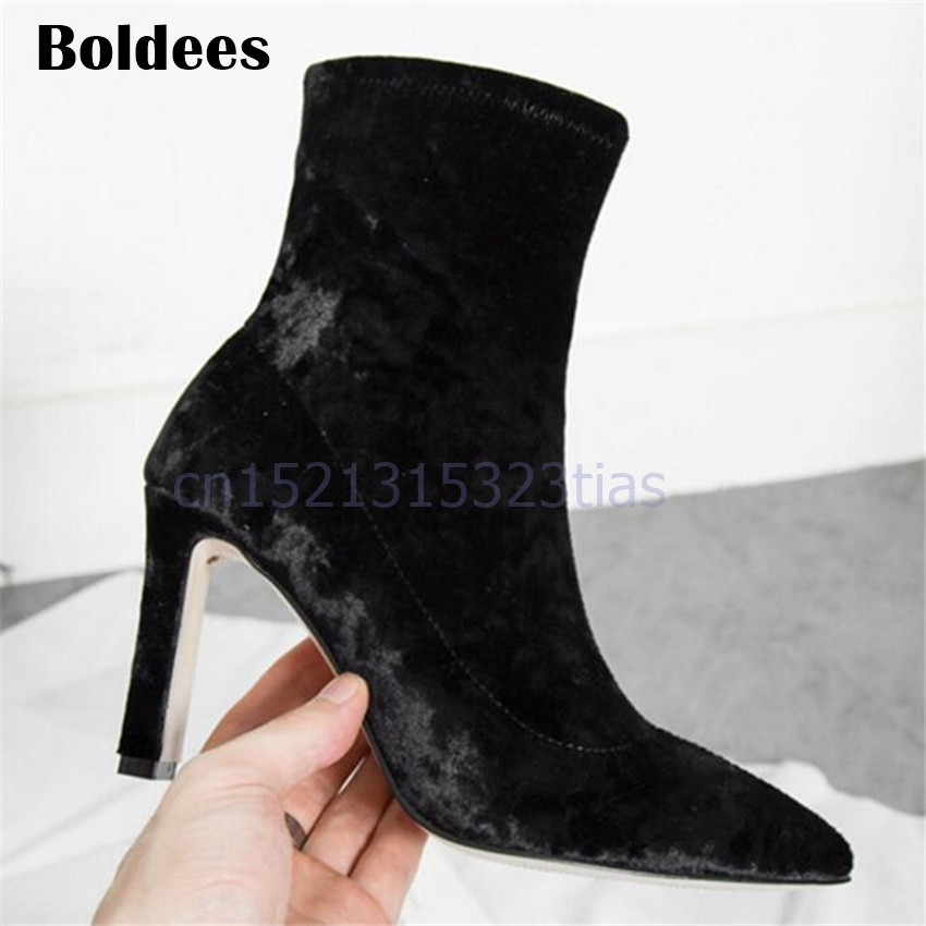 Luxury Velvet Ankle Boots Woman Pointed Toe High Heel Boots Woman Fashion Chunky Heeled Stretch Sock Boots 2018