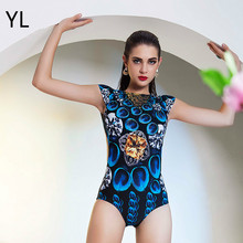 e4e342cbea Queen Elasticity Short Sleeves One-piece Bathing Suit Hot Printed 3D High  Waist Swimwear Blue Peacock Feathers Push Up Swimsuit