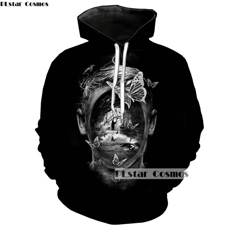 PLstar Cosmos Black Pullovers Men/women Casual Hoodies Grim Reaper Butterfly Painting Hoodie Sweatshirt Long Sleeve Sportswear