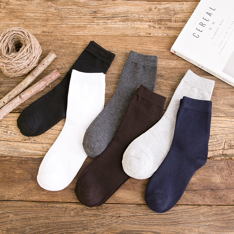 Hot Sale New Autumn And Winter High Quality Cotton Mens Socks Fashion Leisure Classic Solid Color