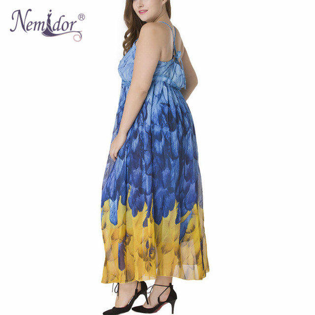 Women Sexy Halter Backless Print Dress Plus Size 7XL Sleeveless Vintage Beach Chiffon Party Long Dress 1