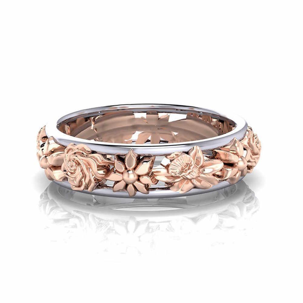 สร้างสรรค์ดอกไม้แหวนคู่สีของขวัญวาเลนไทน์แหวนหรูหราเครื่องประดับ Kull แหวนเครื่องประดับประณีต Anillos