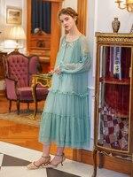 LYNETTE'S chinoisery лето осень новый оригинальный дизайн женские свободные Мори девушки цветок вышивка Фонарь рукава зеленое платье
