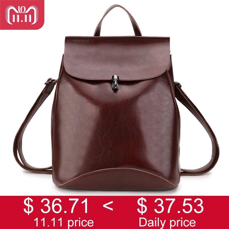 High Quality Genuine Leather Women Backpacks Shoulder Bags 2018 Female Multifunction Back pack School Bags for Teenage Girls цены