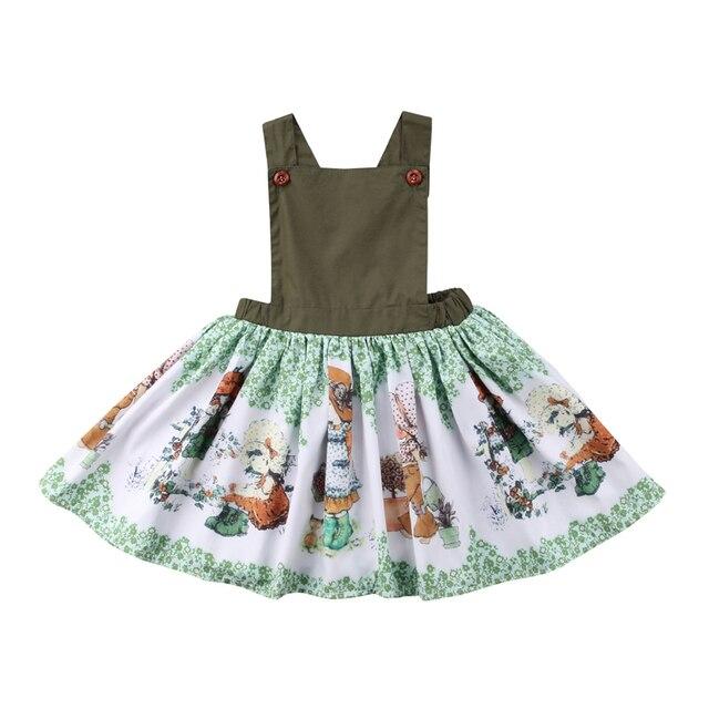 ילדים תינוקת פעוטה הקיץ החדש ללא שרוולים ללא משענת בגדי נסיכה להתחפש שמלה קיצית הדפס קריקטורה בנות