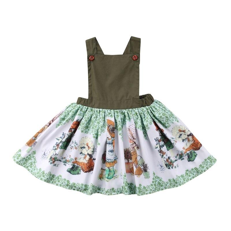 Nuevo verano niño niños bebé niña sin mangas sin espalda dibujos animados niñas imprimir vestido de princesa ropa de verano