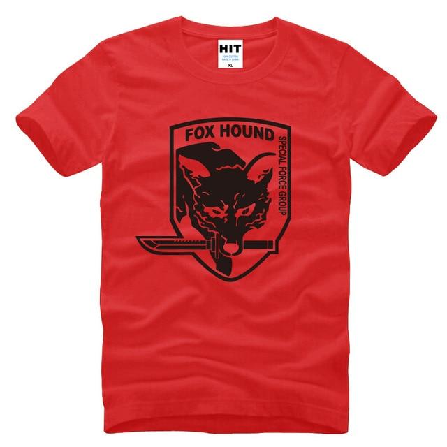 ميتال جير mgs fox hound video game رجل الرجال تي شيرت أزياء 2015 قصيرة الأكمام القطن t-shirt قمزة camisetas hombre