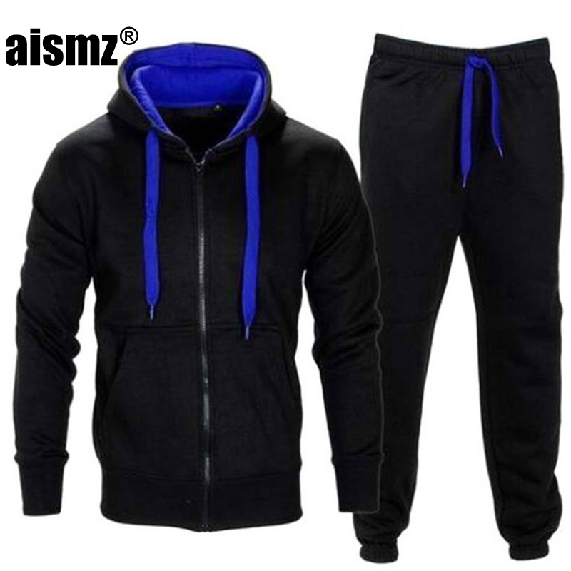 Aismz Brand Autumn Men's Tracksuits 2 Piece Set Zipper Hood Jacket Sweat Pant Sportsmen Casual Jumper Sweatshirt Hoodies Suit