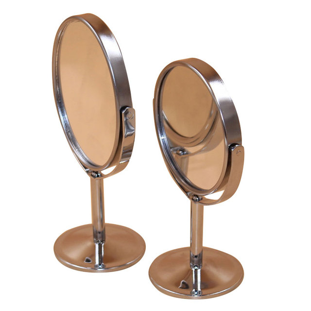 Home Decor Oval Metal Stainless Steel Desktop Small Mirror Double Surface Cosmetic Mirror Make Up