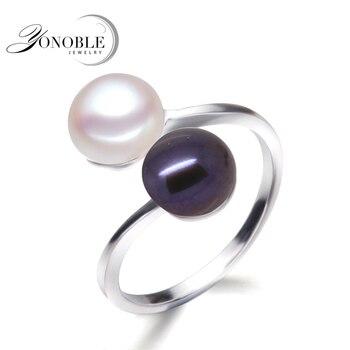 64d9b16e8fb6 Anillos de perlas negras para mujer anillo de doble perla natural para  hombre 925 anillos de boda de plata con perla de compromiso para niña  cumpleaños ...